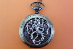 Dragon Pocket Watch Necklace Mens Jewelry by jingchine on Etsy, $3.99
