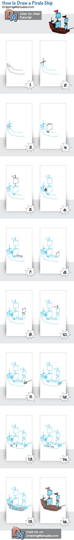 How to Draw a Pirate Ship, step-by-step drawing tutorial for children and their parents. http://drawingmanuals.com
