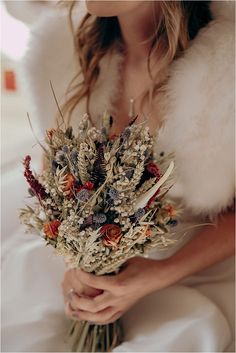 A dried flower bouquet is perfect for a winter wedding.  Photo: Jodie DC Mitchell