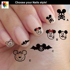 Halloween Disney nail art, cartoon, childrens nail art, mickey mouse, 75 Waterslide stickers Decal Nail, nails crystal clear background