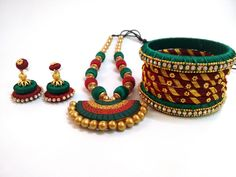 Elegant Red And Green Terracotta Necklace Set