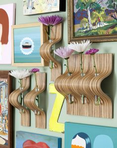 Wall mounted vases by SCAD alumna Nani Cabada for Working Class Studio, Nani Collection Vase #vases #wallmounted #scad #zebrawood # testtubes