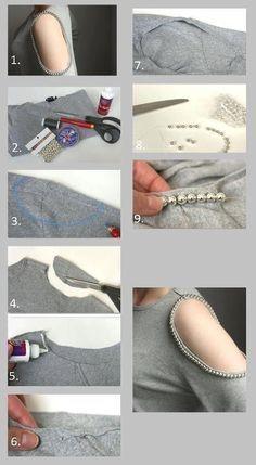 Como fazer customização em blusas l Diy Clothes Refashion, Shirt Refashion, T Shirt Diy, Diy Clothes Videos, Clothes Crafts, Sewing Clothes, Alter Pullover, I Spy Diy, Diy Summer Clothes