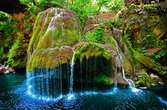 "Bigar Waterfall, Romania The locals call this waterfall ""the miracle from the Minis gorge."" The moss formation which the falls travel over is 8 meters tall, creating one of the most beautiful waterfalls in the world"