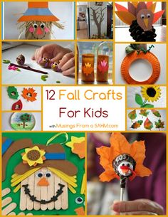 great collection of fall crafts for kids. Here's 12 of my favorite ideas.... Acorn Owls is my favorite - aren't they adorable?! I will definitely be trying those with my children!