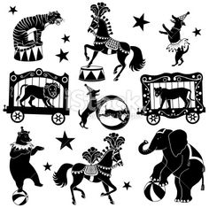 Black and white illustrations of circus animals. A circus tiger,. Circus Art, Circus Theme, Circus Illustration, Circus Characters, Train Drawing, Shadow Theatre, Shadow Puppets, Black And White Illustration, Free Vector Art