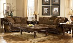 Traditional Brown Fabric Wood Trim Sofa Couch Set Living Room Furniture