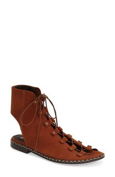 Free People 'Edgewater' Lace-Up Flat Sandal (Women) available at #Nordstrom