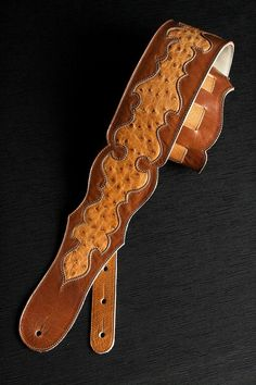 SALE Guitar Strap: brown leather guitar strap by EthosCustomBrands