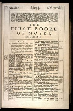 Genesis Chapter 1 Original 1611 Bible Scan, courtesy of Rare Book and Manuscript Library, University of Pennsylvania
