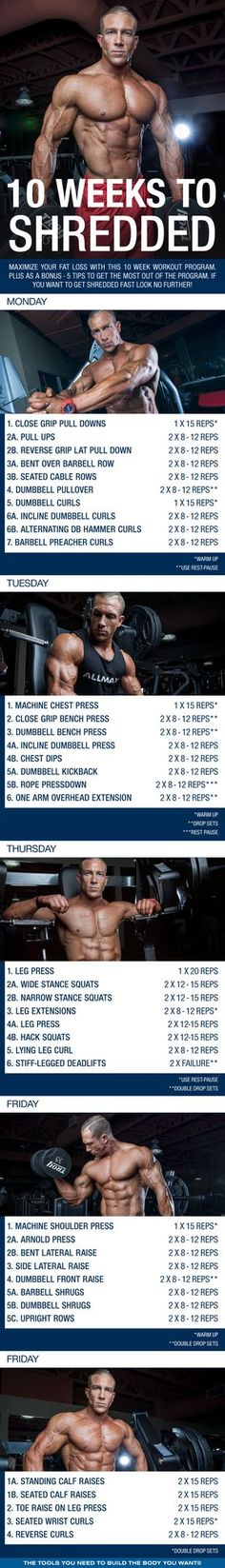 10 Weeks to Shredded: Maximize Your Fat Loss with this Workout - - Maximize your fat loss with this 10 week shred workout program. Plus as a bonus - 5 tips to get the most fat loss out of the program! Wöchentliches Training, Fitness Studio Training, Training Programs, Weight Training, Workout Programs, Shred Workout, 10 Week Workout, Workout Men, Fitness Workouts