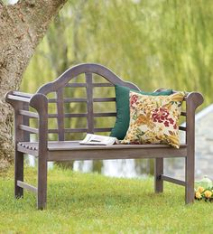 A classic! Lutyens Eucalyptus English Garden Bench made from eco-friendly, weather-resistant eucalyptus.