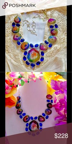 ✨🌈Huge Rainbow Druzy Solar Quartz ✨🌈Beautiful large 🌈 Rainbow solar Quartz necklace embellished with electric blue tanzanite Quartz (TCW) 645 925 silver ✨ Bright beautiful statement necklace!! Jewelry Necklaces