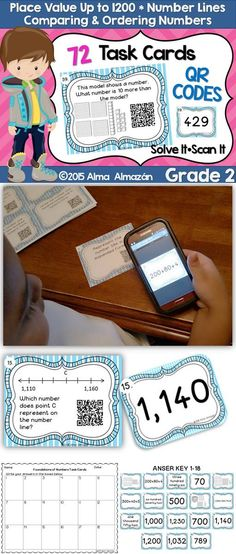 72 Task Cards for Place Value up to 1200, Number Lines, and Comparing and Ordering Numbers. The students will stay engaged with these cards in a center or workstation while you work with you small group. Each task card has a QR code that students can easily scan to check their answers. Comes with student response sheets and an answer key just in case you don't want to use the scanners. Alma Almazan