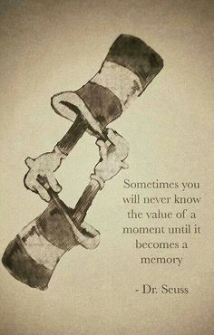 "Dr Seuss ""Sometimes you will never know the value of a moment until it becomes a memory."" Quote"