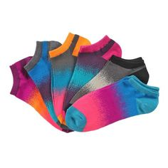 La De Da 6 Pack No Show Socks multi colored ombre tones
