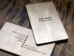 Laser engraved wood cards