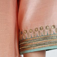 Chanderi Hand Embroidered Sequined Peach Kurta With Inner