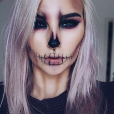 Another picture of how I do my contour on an everyday basis  (Disclaimer: I ate with this make up on so that's why the lines on my lips are not as perfect anymore) I used @bhcosmetics e/s for this look and the @katvondbeauty Tattoo Liner in Trooper  Inspired by the one and only @chrisspy  #halloween#skull#pastellhair#makeup#motd#fotd#girl#selfie#blueeyes