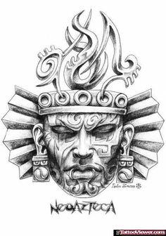 Awesome Aztec Mask Tattoo Design By Pedro Alvarez Head Tattoos, Body Art Tattoos, Tattoo Drawings, Tattoo Pied, Aztec Warrior Tattoo, Aztec Drawing, Mayan Tattoos, Azteca Tattoo, Aztec Tattoo Designs