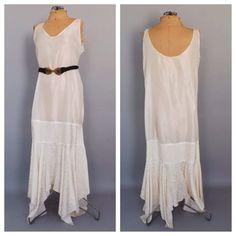Plus Size Vintage 1980s does 1920s Flapper Style Dress Semi Sheer White Under slip Maxi Dress Drop Waist Pleated Skirt Lingerie Gatsby