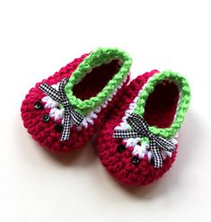 *Free Crochet Pattern:  Baby Oh Baby Watermelon Shoes by Kris Moore