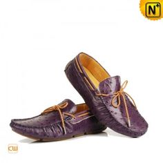 Men Moccasin Shoes Casual Laced Ostrich Embossed Leather Loafer Flat Shoes CW709092 - m.cwmalls.com