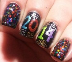 Nail Trends, Nail Art, Nail Designs, New Year's Eve Nails New Years Nail Designs, New Years Nail Art, New Years Eve Nails, Holiday Nail Designs, Holiday Nail Art, Winter Nail Art, Cute Nail Designs, Winter Nails, New Year's Nails