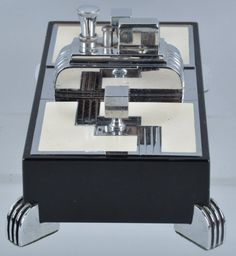 RONSON ART DECO CIGARETTE BOX & LIGHTER