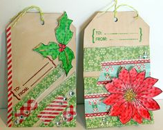 mixed media christmas tags - Google Search
