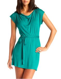 "Knit A-Line Dress with Sash - $24.99  Beachy Dress in turquoise! Solid-knit fabric with a matching waist sash. Fitted cap sleeves and a soft cowl neckline. Size small is 30"" L down the back."