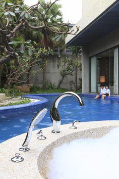 ETHER Two-handle Bathtube Faucet. #bath #bathtub #faucet #shower #JUSTIME