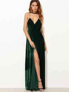 Strappy Backless Wrap Velvet Dress -SheIn(Sheinside)
