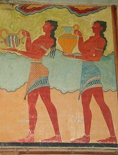 Minoan fresco BC) from Knossos Palace, Crete Island, Greece Art History Timeline, Art History Major, Art History Memes, Art History Lessons, Greek History, Ancient History, Creta, Ancient Greek Art, Ancient Greece