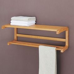 Organize It All Neu Home Lohas Bamboo Wall Mounting Shelf with Towel Bars  dcf598863ecb