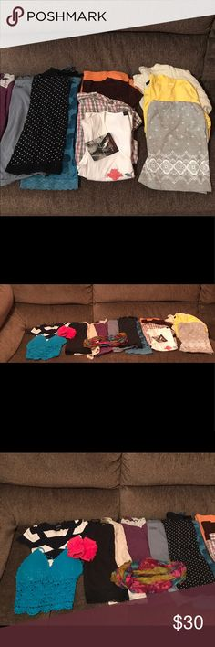 Lot of clothes. Variety of women's clothes. XS to small. No stains or rips. Some are brand new.  NWT Rampage embroidered flower top Sm EUC short sleeve collar shirt plaid with gold Sm EUC Rue 21 brown sheer tee Med EUC Arizona orange sheer tee XS (not true to size, more small) NWOT Aeropostale gray tunic Sm 6 camisoles Sm  Long sleeve shirt Sm  Long sleeve Sweater Sm Short sleeve sweater XS Infinity Leigh's weight scarf Hand warmer pink for texting Blue crochet top Sm  Leggings  Slacks size…