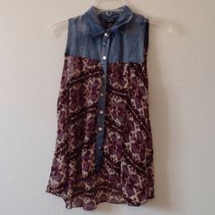 Shear tank top Aztec print with the denim top some string hanging off around the arms and on the seams inside Rue 21 Tops Tank Tops