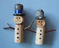 Pair of Wine Bottle Cork Christmas Tree Ornaments via Etsy