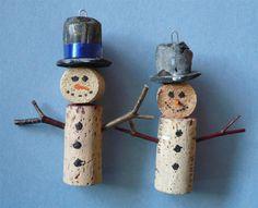 Pair of Wine Bottle Cork Christmas Tree Ornaments via Etsy