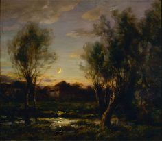 """fryemuseum: """" Francois Cachoud (French, Moonlight Scene, 1914 Oil on linen 31 ¾ x 36 ¼ in. Charles and Emma Frye Collection, """" Nocturne, Art History Major, Moonlight Painting, Nature Pictures, Ciel, Art World, Dark Art, Art Museum, Landscape Paintings"""