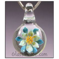 SALE Flower Jewelry Lampwork Pendant Glass necklace focal by Glass Peace $20.00
