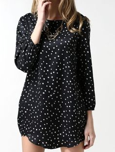Wholesale Plus size o neck contrast color stars pattern long sleeve blouse NS-1886 - Lovely Fashion