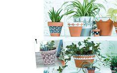 Pots de fleurs customisés : carnet d'idées - événement jardinerie Truffaut: événement jardinerie Truffaut Painted Flower Pots, Painted Pots, Ikea Plants, Deco Nature, Pot Jardin, Green Craft, Decoration Plante, Green Grapes, Craft Day
