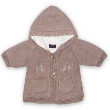 Paletot en Angora SERGENT MAJOR - 3 Mois - Magnifique petit paletot à porter en demie-saison ou en hiver ! Maille extérieure en tricot mélangé coton + laine + angora. Poches. Broderies. Boutons métal. Capuche. Finition façon crochet. Entièrement doublé de tissu coton façon peluche écrue ultra-douce. EXCELLENTE QUALITE. 15 Euros seulement !