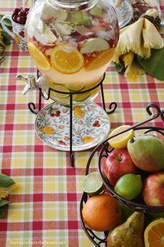 Pfaltzgraff Embossed Fruit Beverage Dispenser | homeiswheretheboatis.net #tablescape #summer