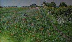 The Poppy Meadow - Swallows - Acrylic - 23 x - Framed - - Original British Bird Paintings For Sale - Alan M Hunt Bird Paintings, Paintings For Sale, Swallows, Photorealism, Wildlife Art, Bird Prints, Bird Art, Natural World, Poppy