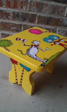 Handpainted Wooden Dr. Seuss Step Stool by PaintForKiddos on Etsy