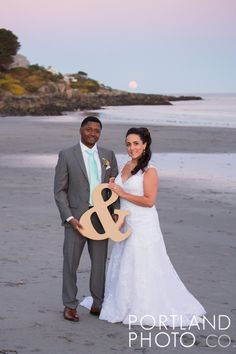 Moonrise over Harbor Beach with our *just married* bride and groom! York Harbor Inn Weddings - Portland Photo Company Photography