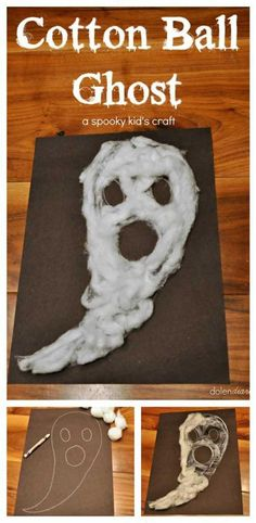 Cotton Ball Ghost Halloween Kid's Craft is part of DIY Kids Crafts Halloween - Cotton Ball Ghost is the perfect quick & easy Halloween Kid's Craft! Supplies needed cotton balls, construction paper, & white glue Halloween Arts And Crafts, Theme Halloween, Halloween Ghosts, Halloween Diy, Holiday Crafts, Holiday Fun, Halloween Decorations, Halloween Art Projects, Halloween Labels
