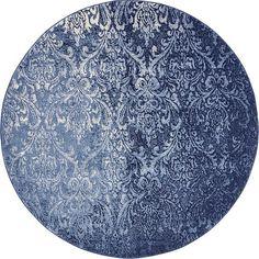 Light Blue 6' x 6' Damask Round Rug | Area Rugs | eSaleRugs
